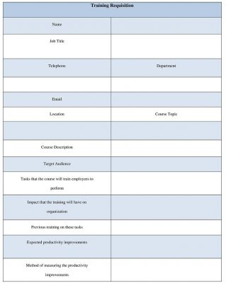 Employee Training Requisition Form Template Word - Sample Requisition Form