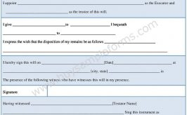 Simple Will Form Format in Word – Sample Will Template