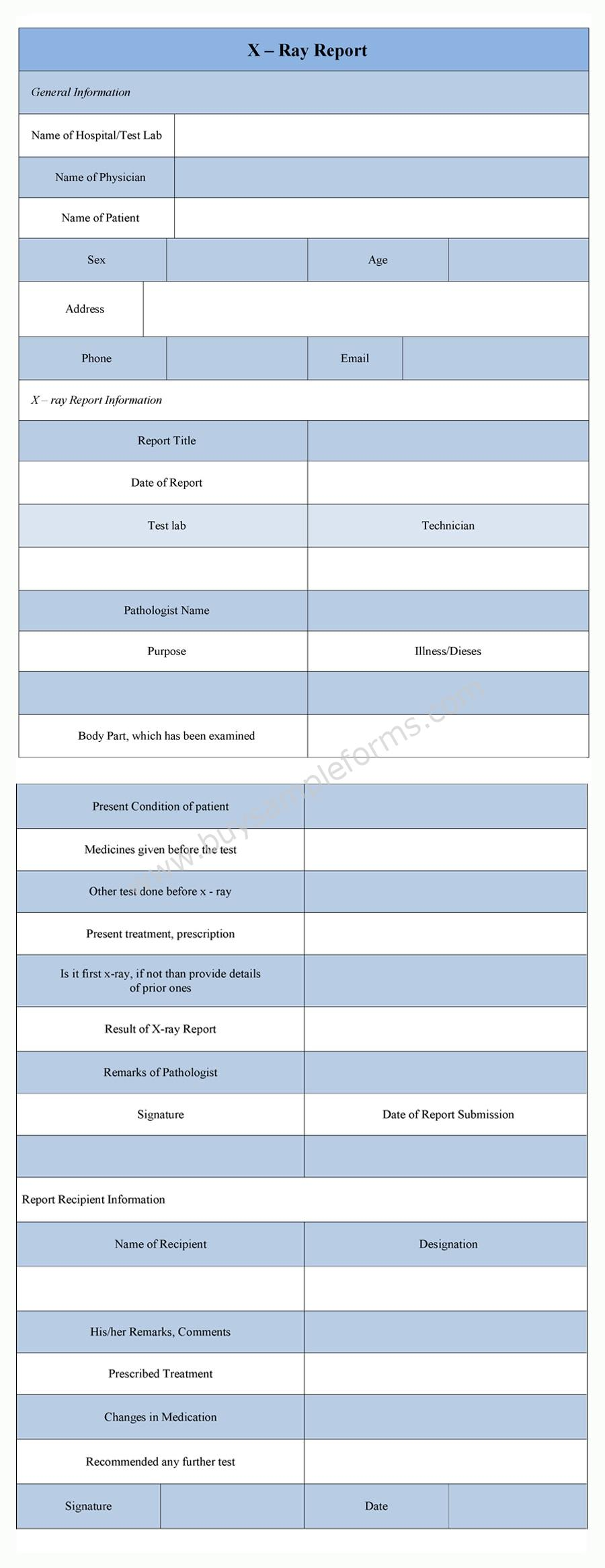 x-ray report template