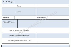 Assignment of Residential Lease Form