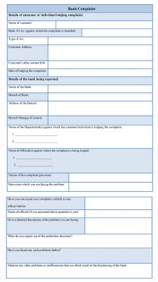 Bank Complaint Form sample