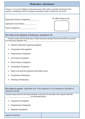 Bankruptcy Amendment Form