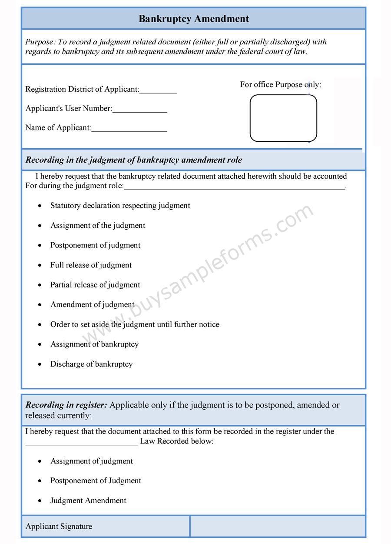 Bankruptcy Amendment Form