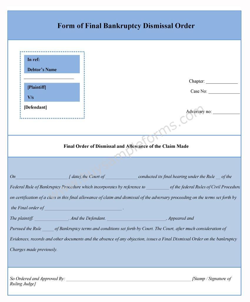 Bankruptcy Dismissal Form Template
