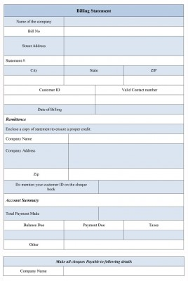 Sample Billing Statement Form