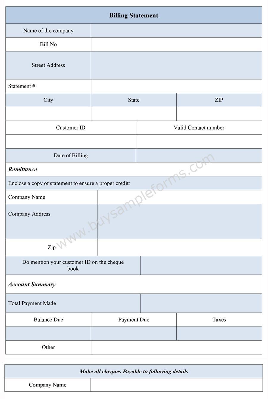 Sample Billing Statement Form
