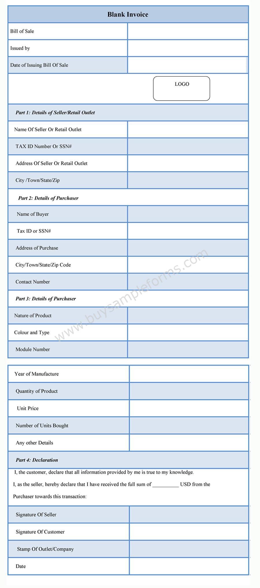 Blank Invoice Form sample