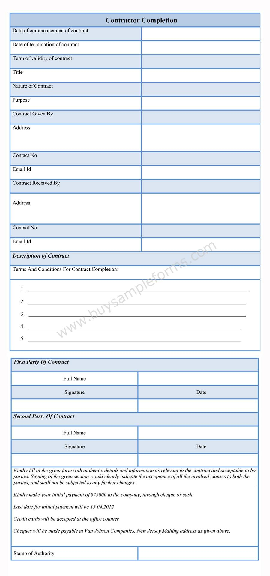 contractor completion form template