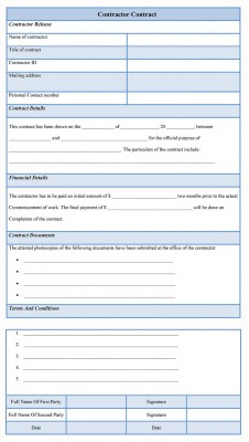 Sample Contractor Contract Form