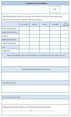 Corporate Event Feedback Form sample