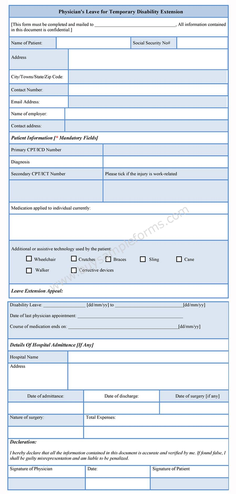 Disability Extension Form sample
