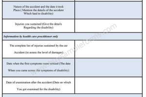 Disability Form Format