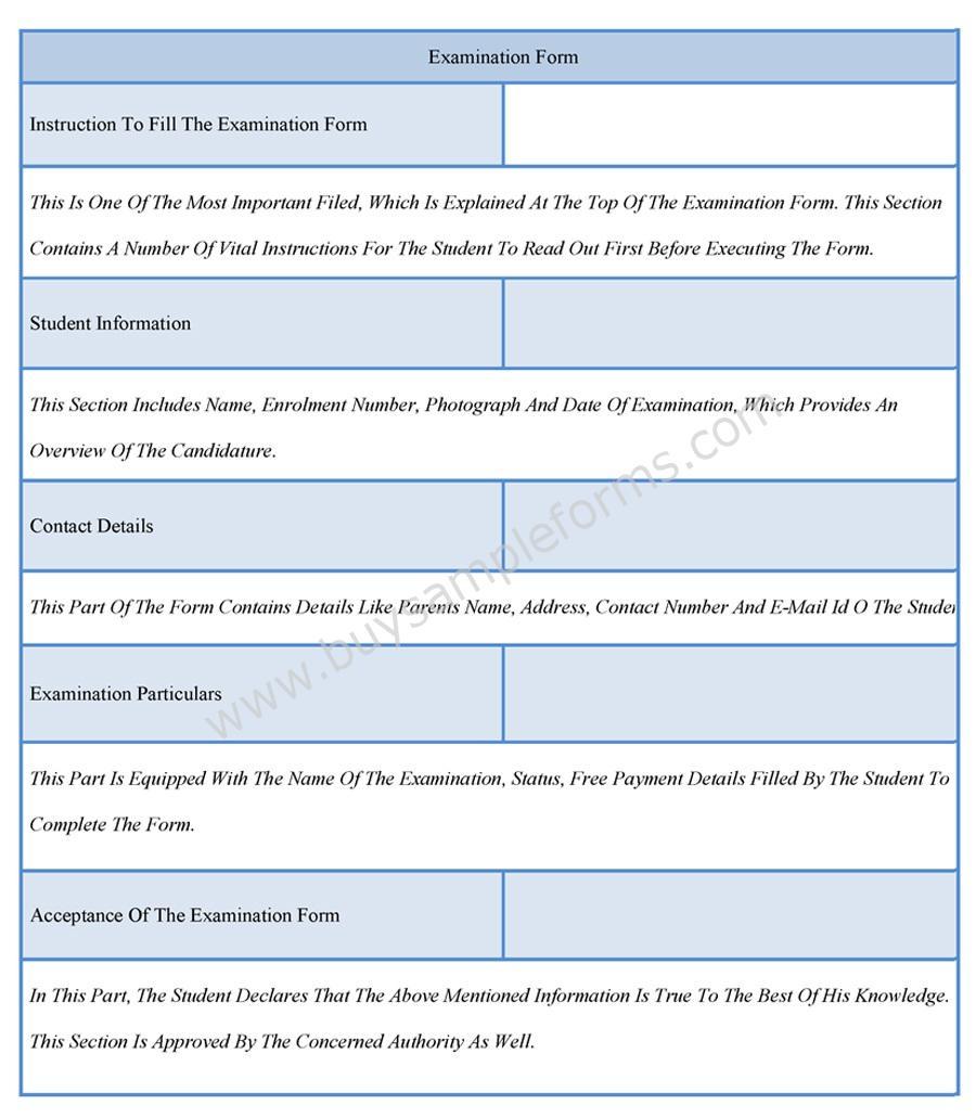 Sample Examination Form Format