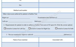 Eye Examination Report Form