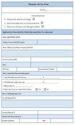 Financial Aid Tax Form