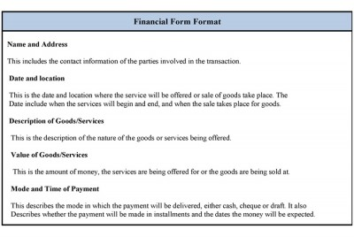 Financial Form Format Template