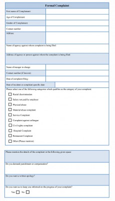 formal complaint form template