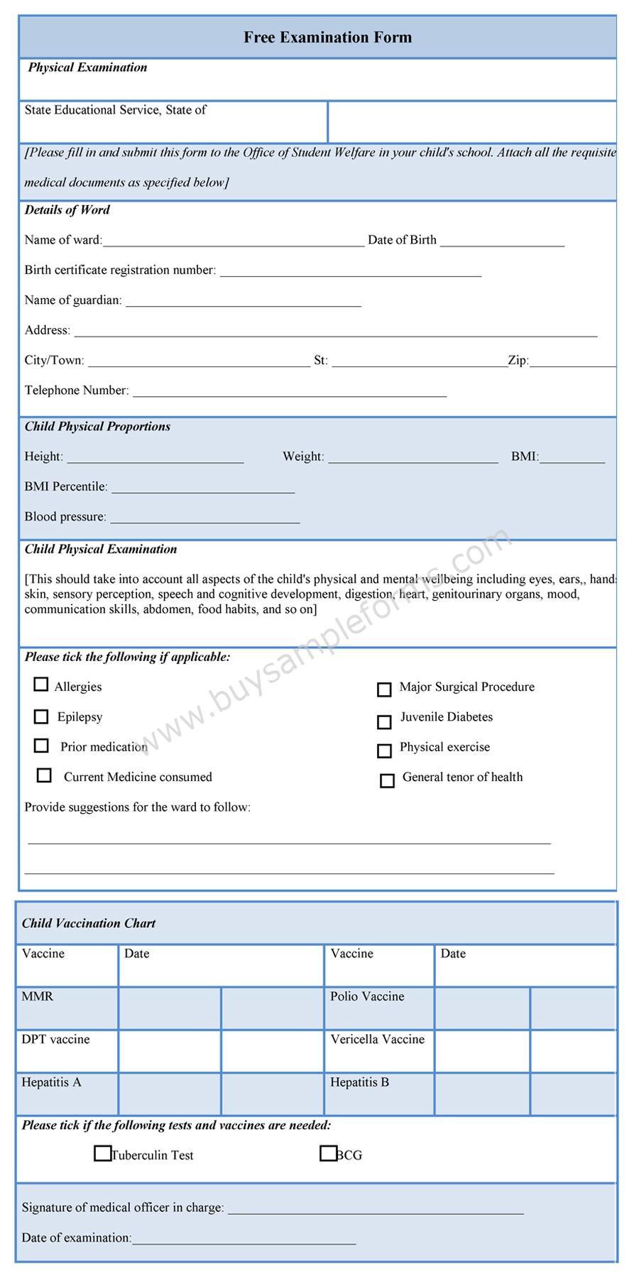 free examination form