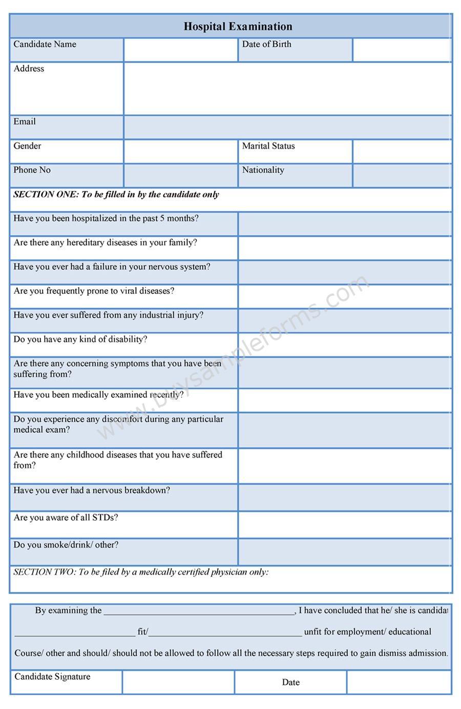 Hospital Examination Form sample