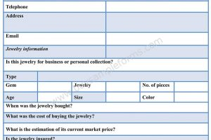Jewelry Appraisal Form