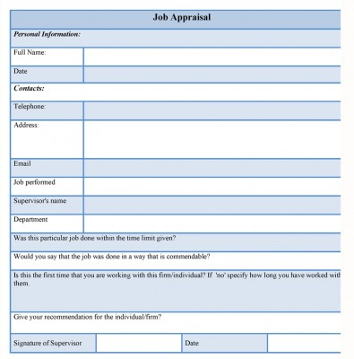 Job Appraisal Form Sample