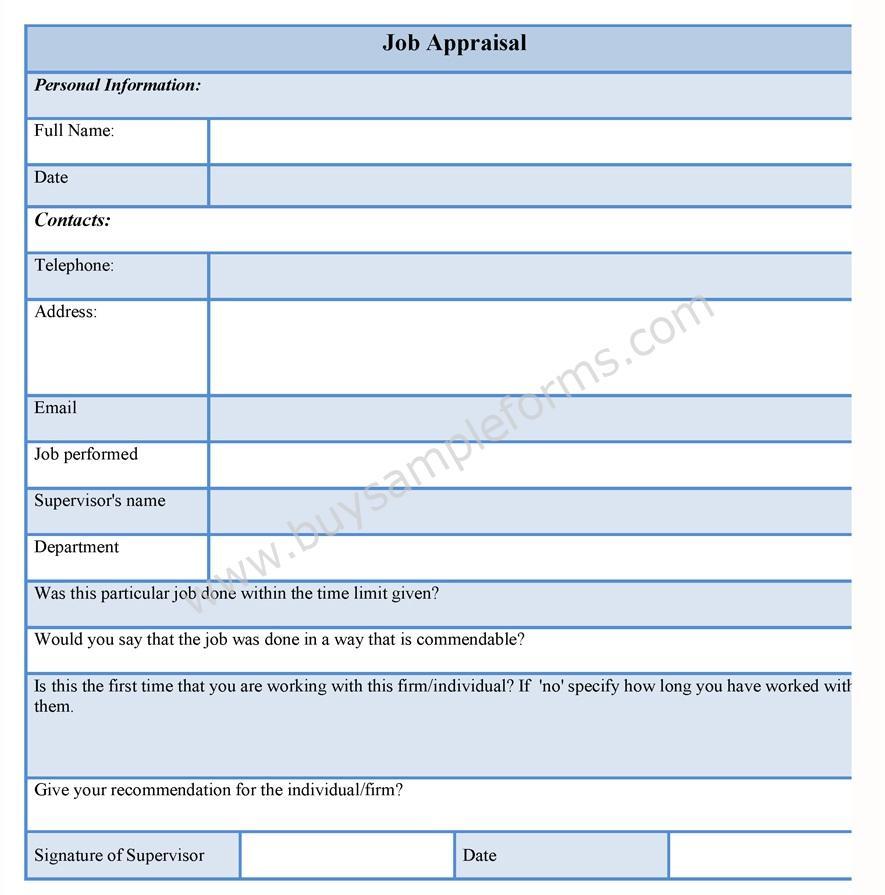 Job Appraisal Form Sample