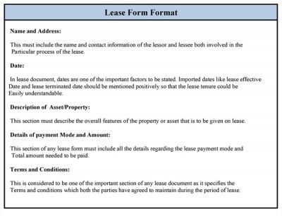 Sample Lease Form Format
