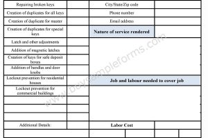 Locksmith Business Estimate Form
