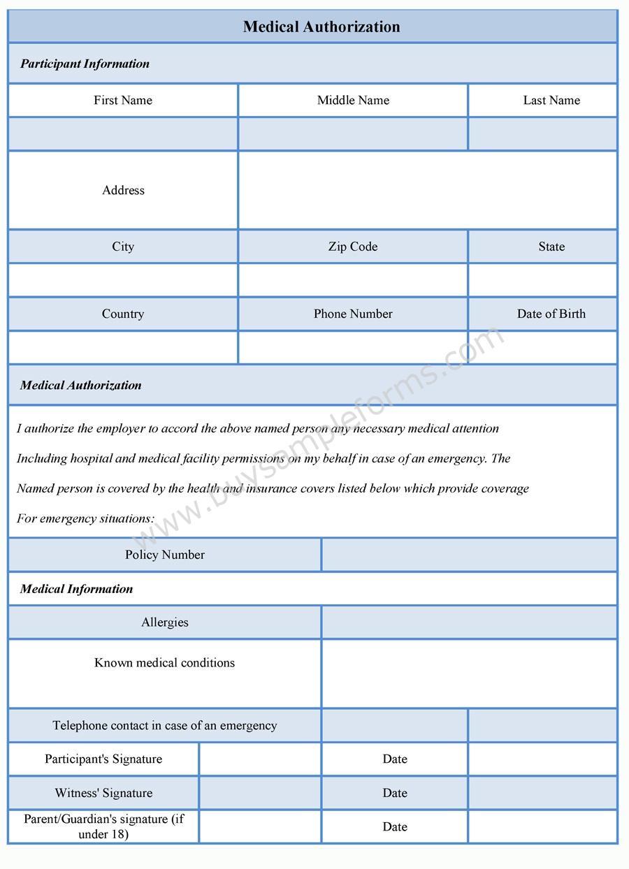 Sample Medical Authorization form