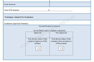 New Product Evaluation Form