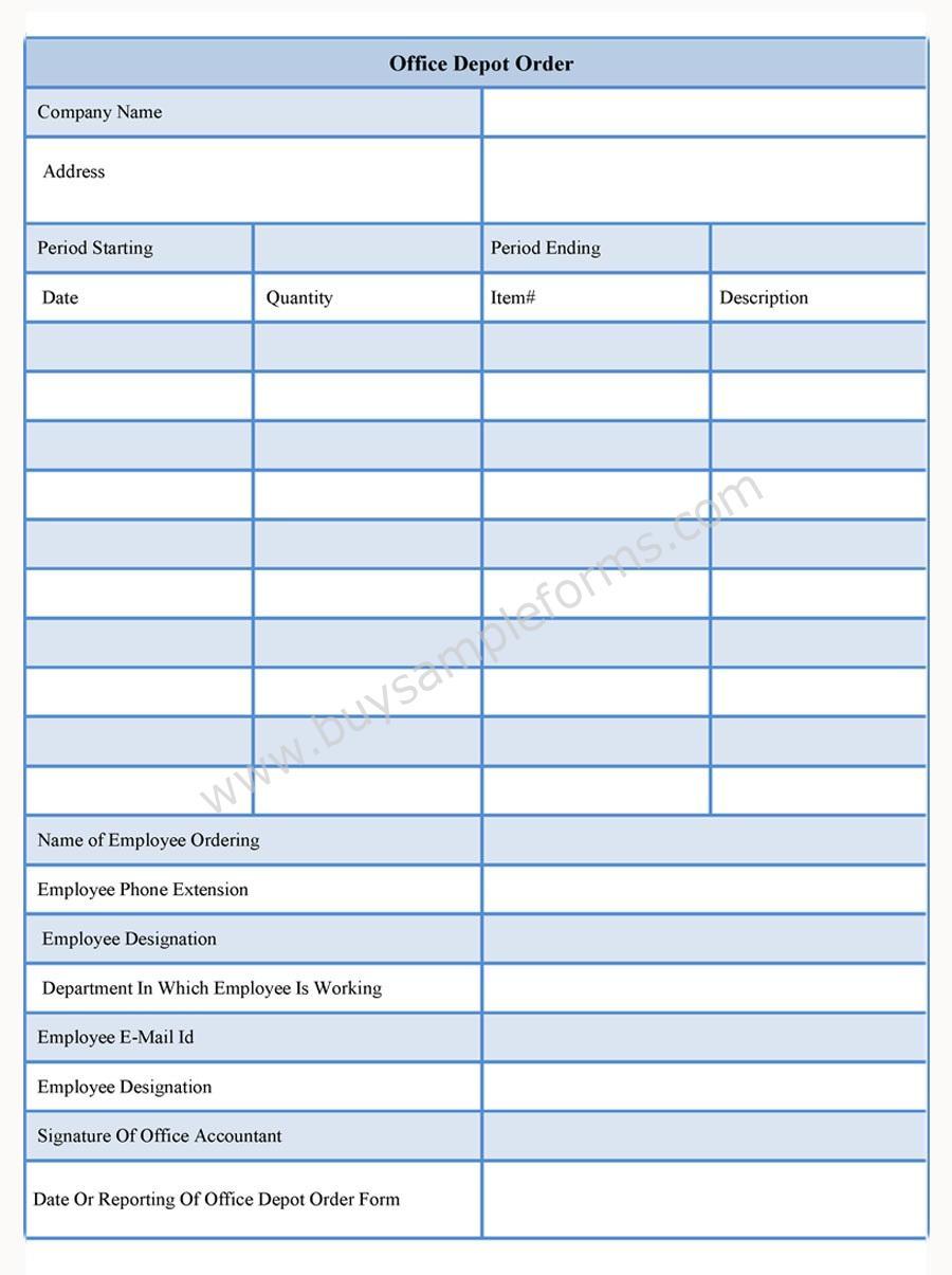 Office Depot Order Form