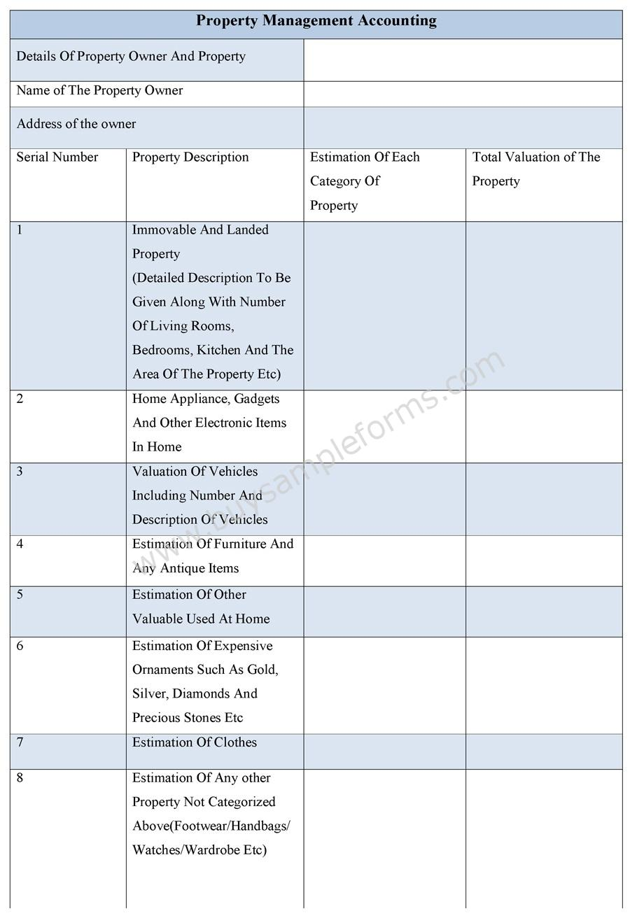 Property Management Accounting Form