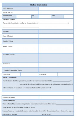 Student Examination Form template
