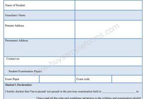 Student Examination Form