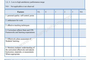 Teacher Appraisal Form
