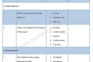 Training Evaluation Feedback Form