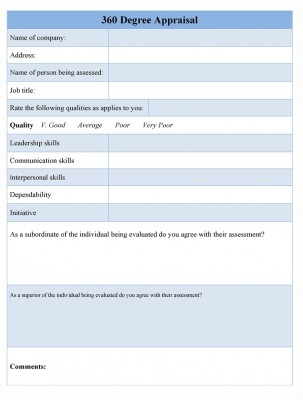 360 Degree Appraisal Form