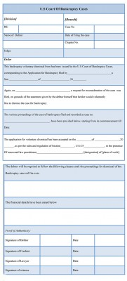 Bankruptcy Voluntary Dismissal Form