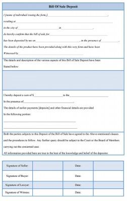 Bill of Sale Deposit Form