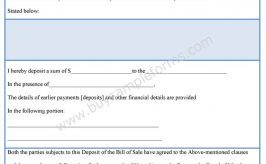 Bill of Sale Deposit Form
