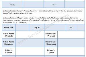 Bill of Sale Format