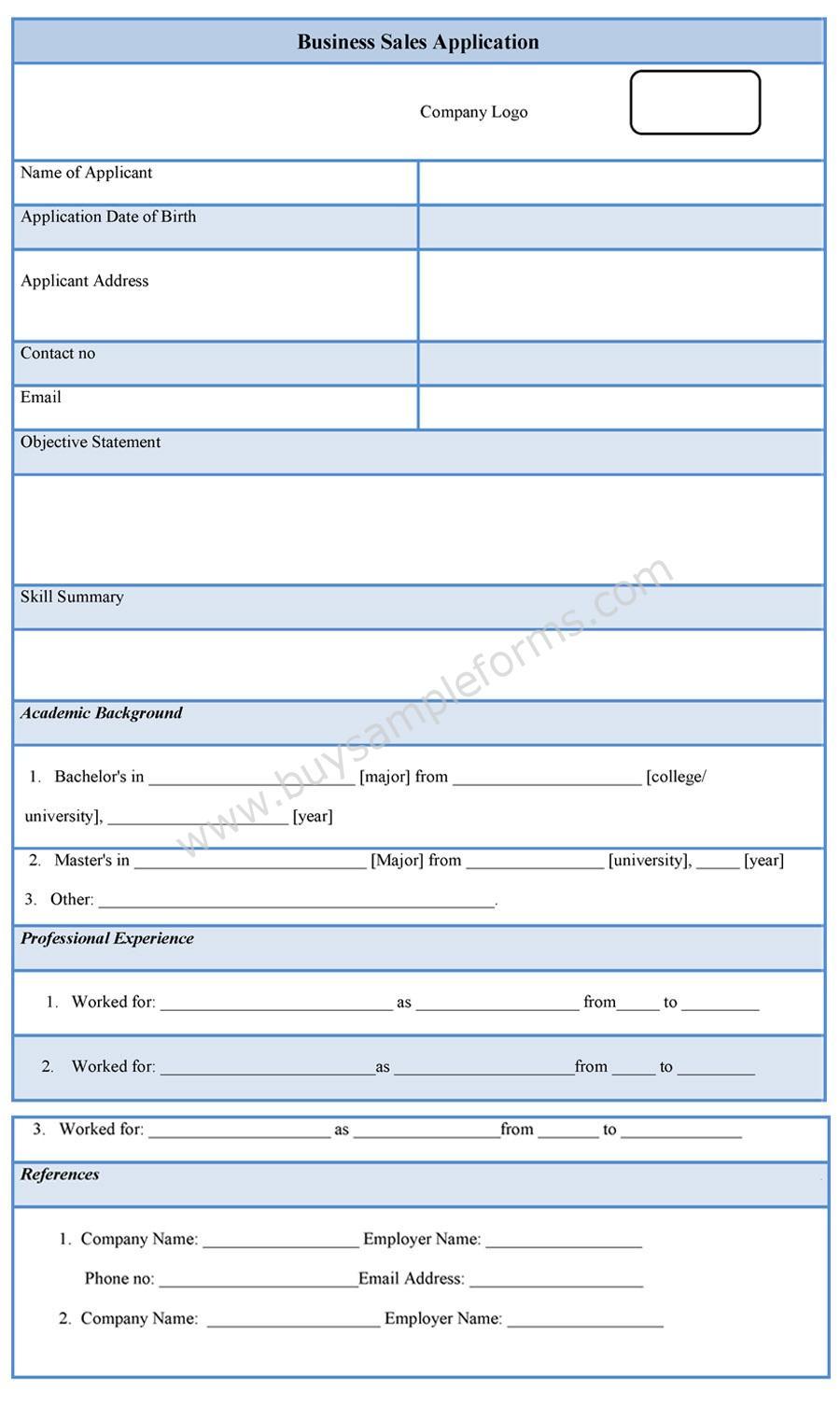 Business Sale Application Form