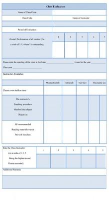 Class Evaluation Form