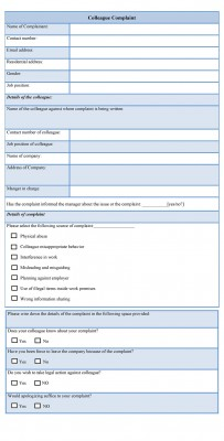 Colleague Complaint Form Template