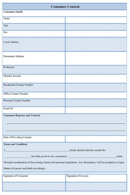 Consumer Consent Form sample