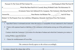 Contractor Liability Release Form