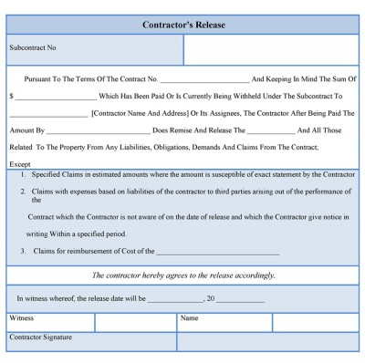 Contractor Liability release form template