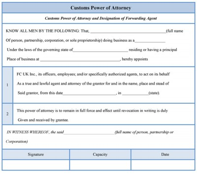 Customs Power of Attorney Form