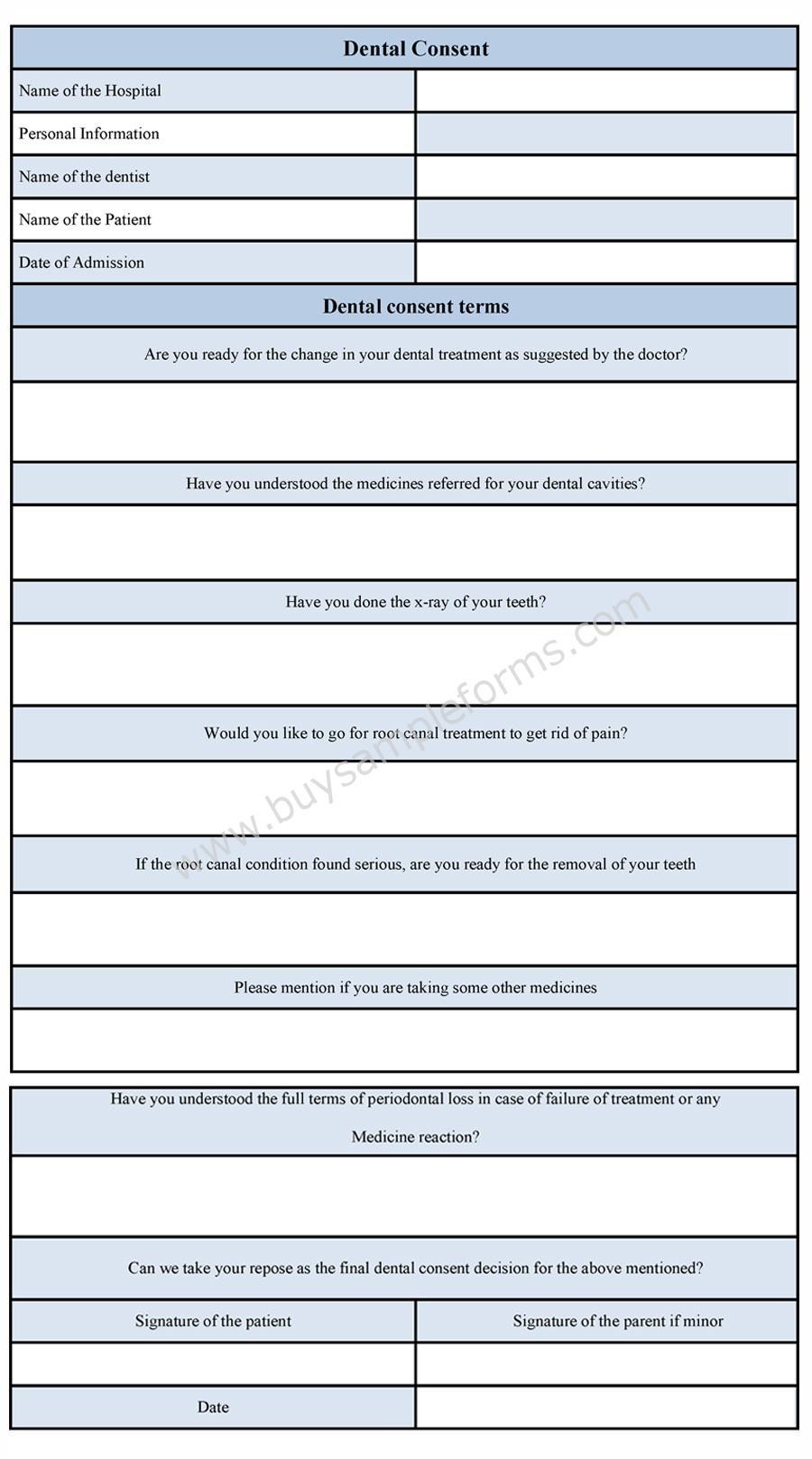 Dental consent form sample