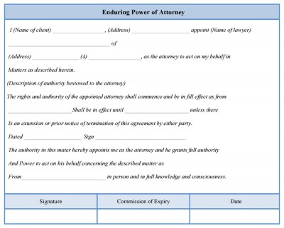 Enduring Power of Attorney Form